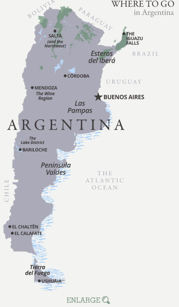 Where to go in Argentina map